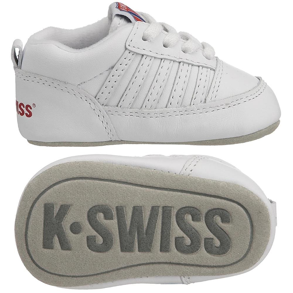 k swiss crib 5 stripe baby sneaker schuhe kinderschuhe babyschuhe krabbelschuhe ebay. Black Bedroom Furniture Sets. Home Design Ideas
