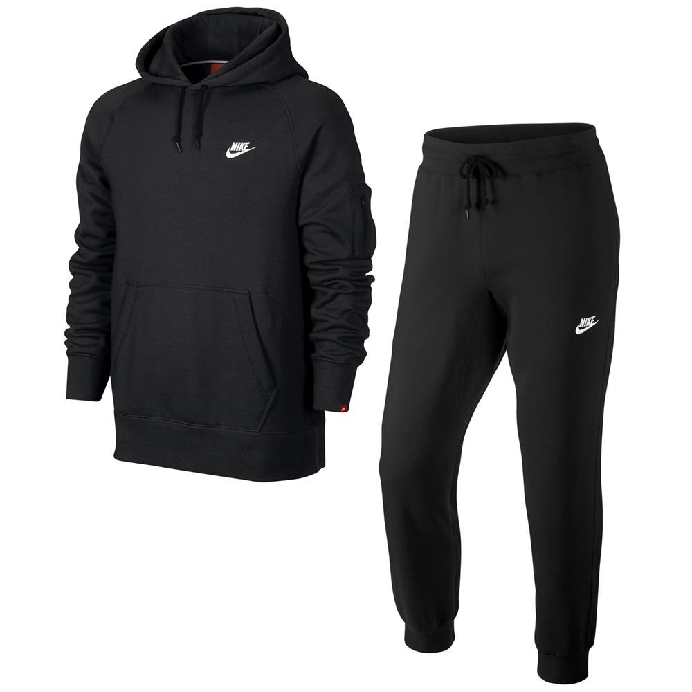Nike-AW77-Fleece-Herren-Trainingsanzug-Hoodie-Jogginghose-Anzug-2-Teilig