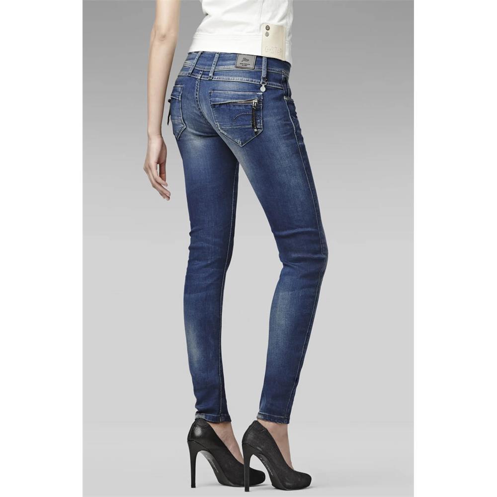 miniatuur 6 - G-Star Midge Cody Mid Waist Skinny Damen Jeans Hose Jeanshose Röhrenjeans