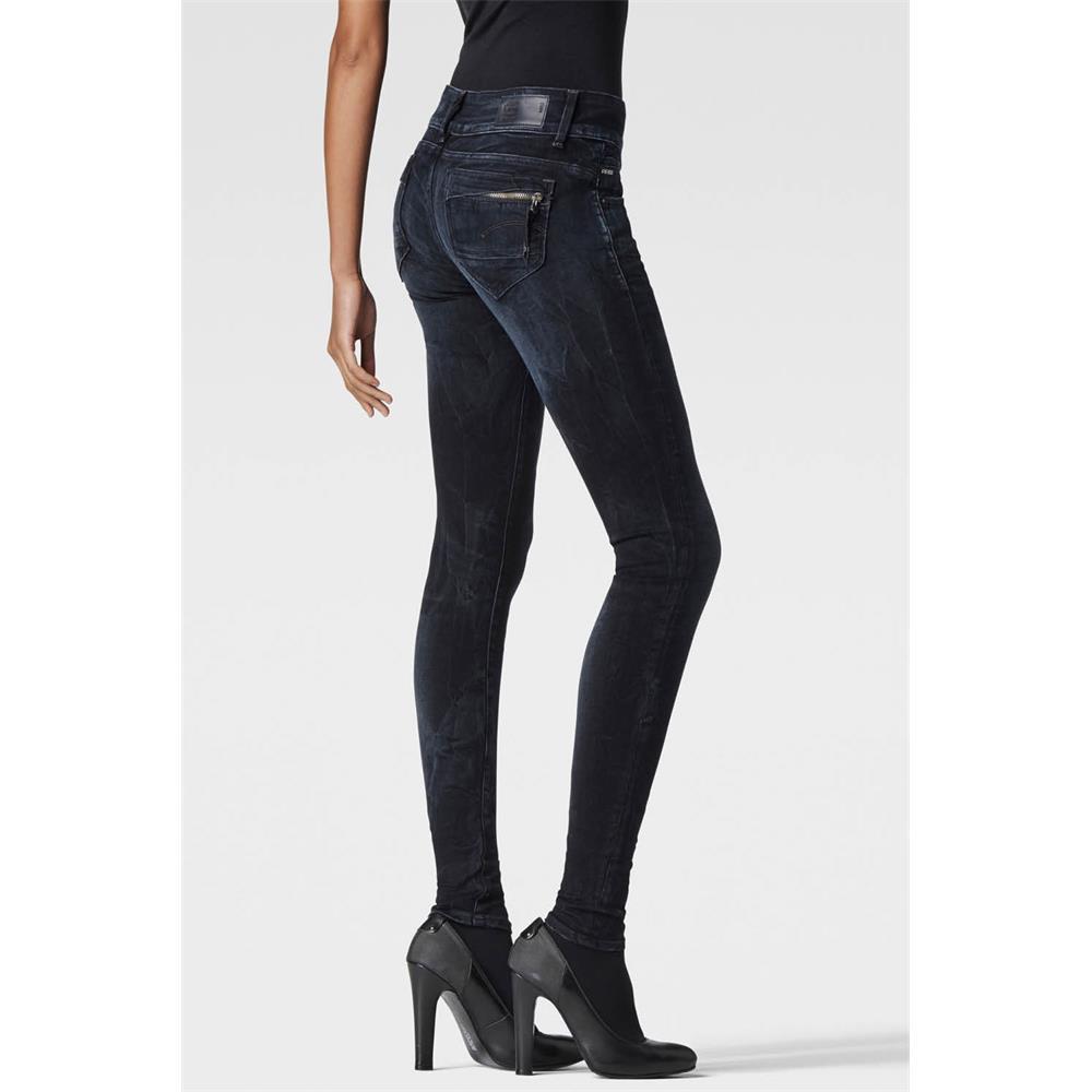 miniatuur 3 - G-Star Midge Cody Mid Waist Skinny Damen Jeans Hose Jeanshose Röhrenjeans