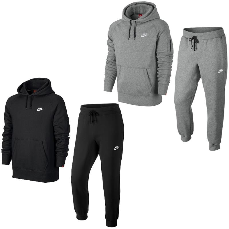 Nike AW77 Fleece Herren Trainingsanzug Hoodie Jogginghose Anzug 2 ... eb9261719e